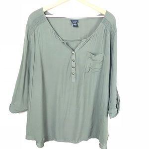 Torrid Green Studded Blouse Size 3